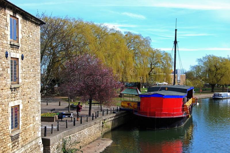 Boat on the River Nene, Peterborough. royalty free stock photos