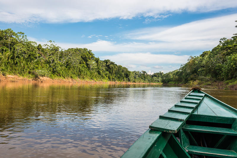 Boat in the river in the peruvian Amazon jungle at Madre de Dios Peru royalty free stock photo