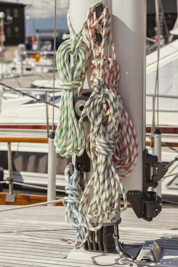 Boat ropes on mast royalty free stock images