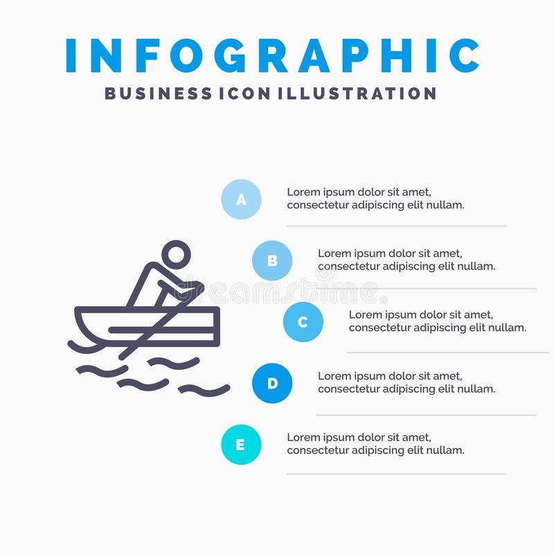 Boat, Rowing, Training, Water Line icon with 5 steps presentation infographics Background vector illustration