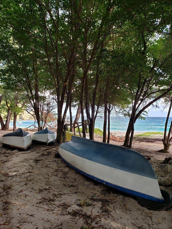 Boat 's on foul bays strand in Saint Philip gemeinde Barbados stockbilder