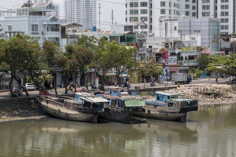 Boat on the Saigon river royalty free stock photos