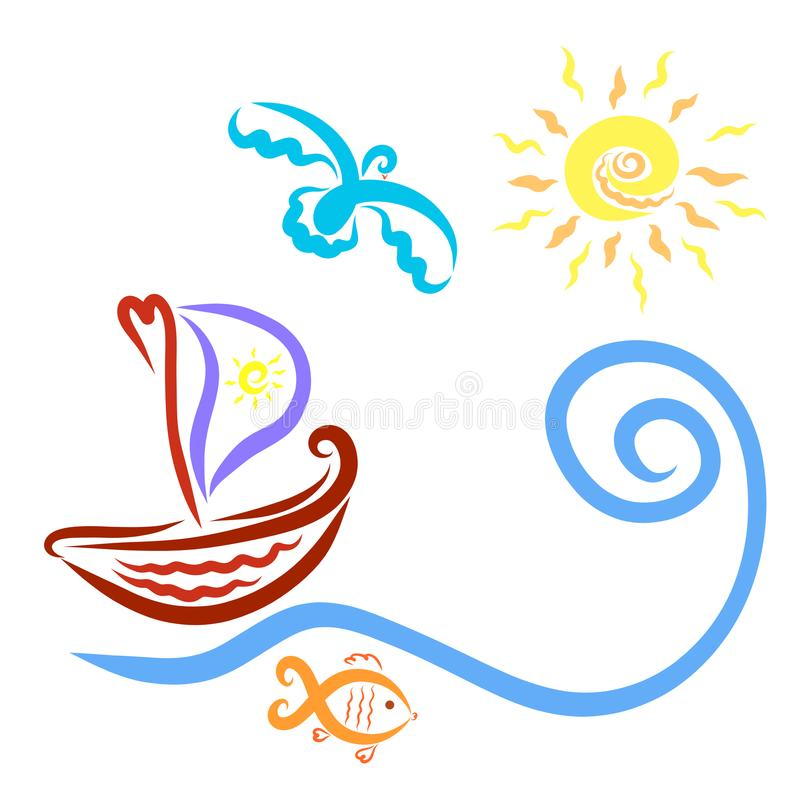 A boat with a sail, floating in the direction of the sun, a bird vector illustration
