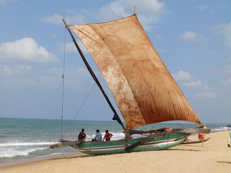 Boat with sail on the ocean, Sri Lanka royalty free stock photo