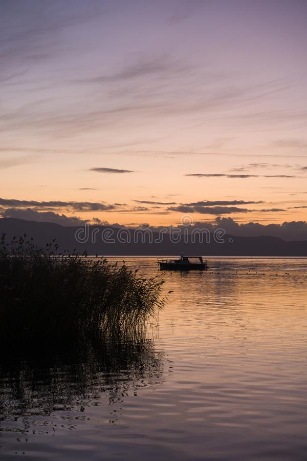 Late sunset at Ohrid lake royalty free stock photos