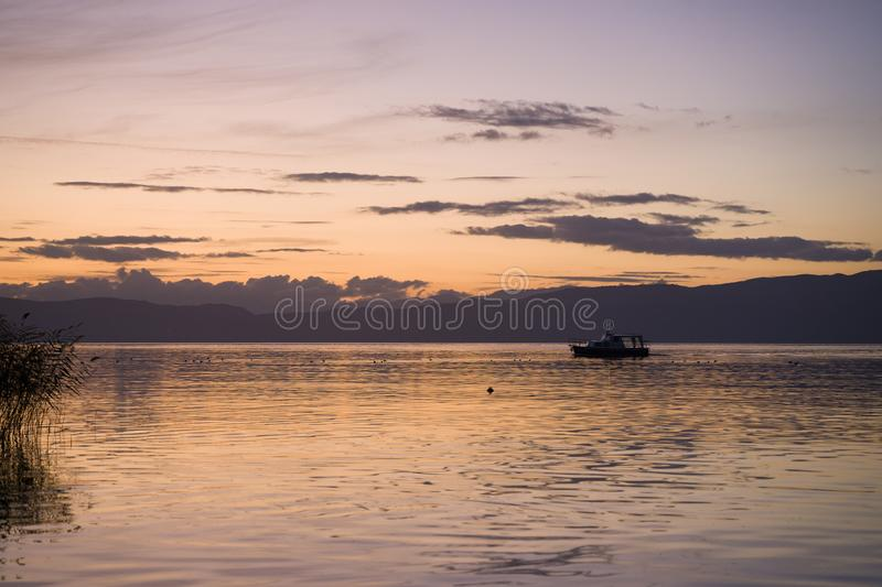 Late sunset at Ohrid lake royalty free stock images