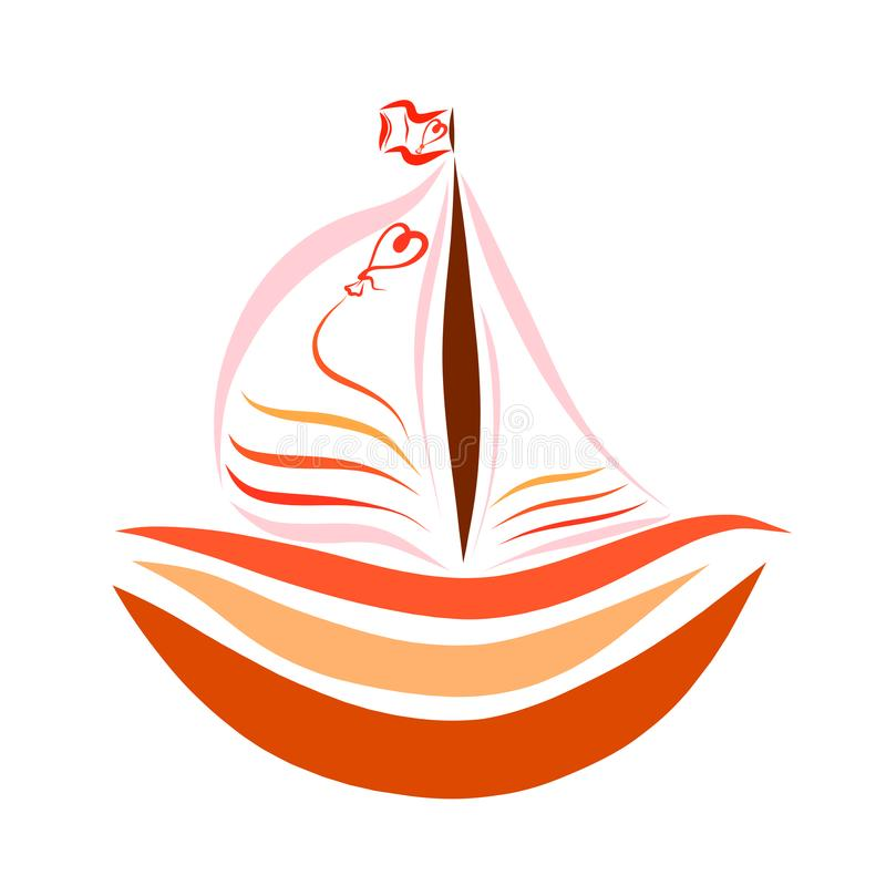Boat with sails with balloon and a heart.  stock illustration
