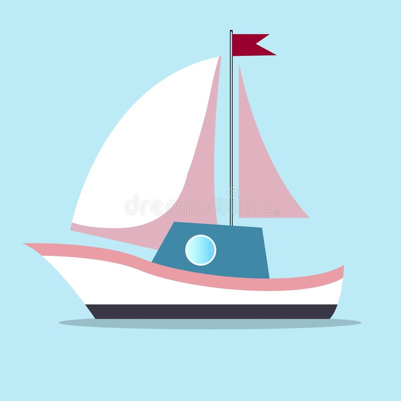 Boat with sails in white-pink color isolated on blue background vector illustration