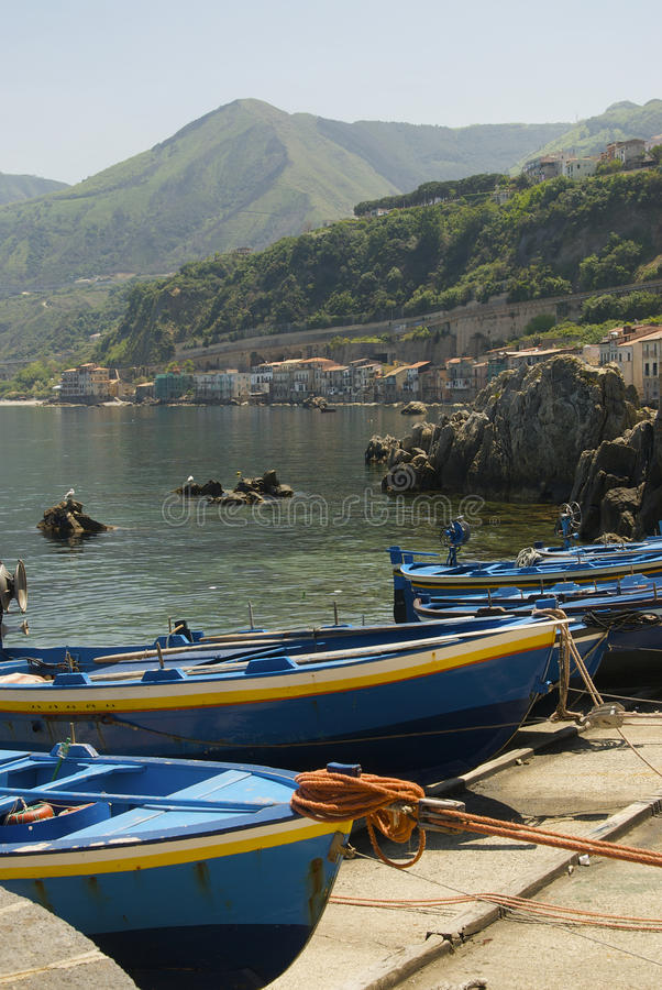 Boat on Scilla, great landscape royalty free stock images