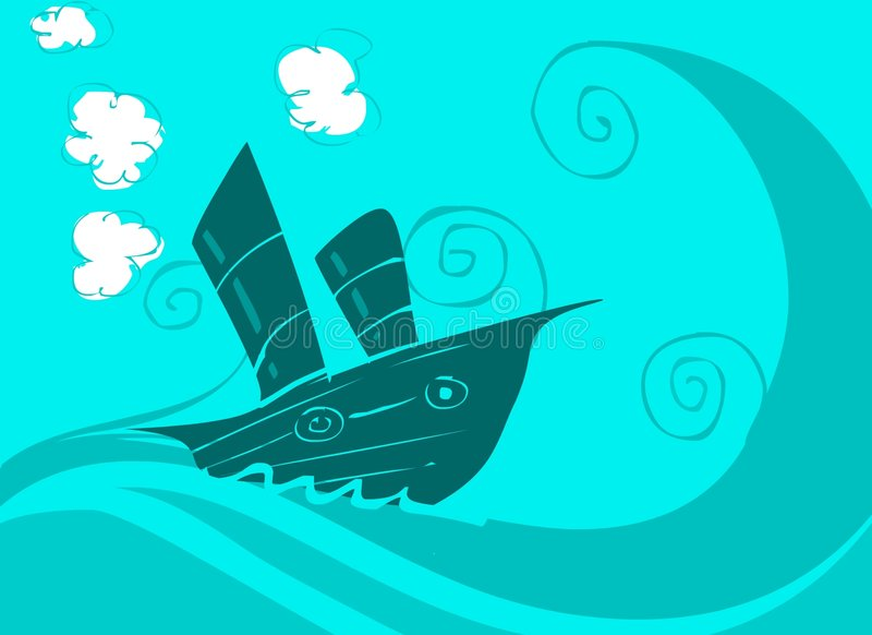 Download Boat on the sea stock illustration. Image of postcard - 1058700