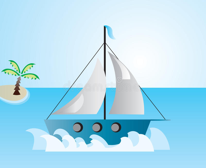 Boat at the sea vector illustration