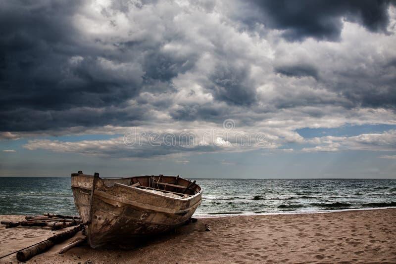 Boat at sea stock photography