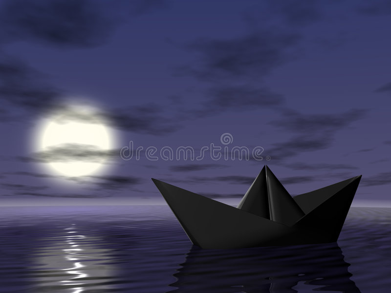 Download Boat in the sea stock illustration. Image of night, darkness - 7350941