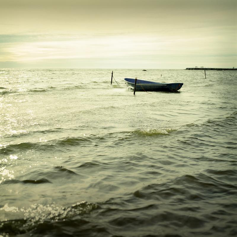 Download Boat and sea stock photo. Image of silhouette, sail, yellow - 7714512