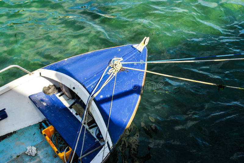 Boat in the sea from above stock photography