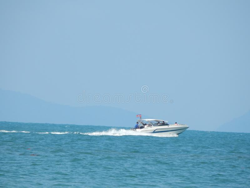 The boat into the sea in Asia royalty free stock photo
