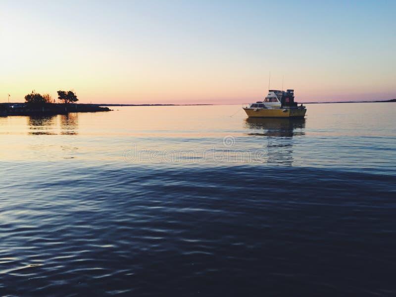 Boat At Sea At Dusk Free Public Domain Cc0 Image