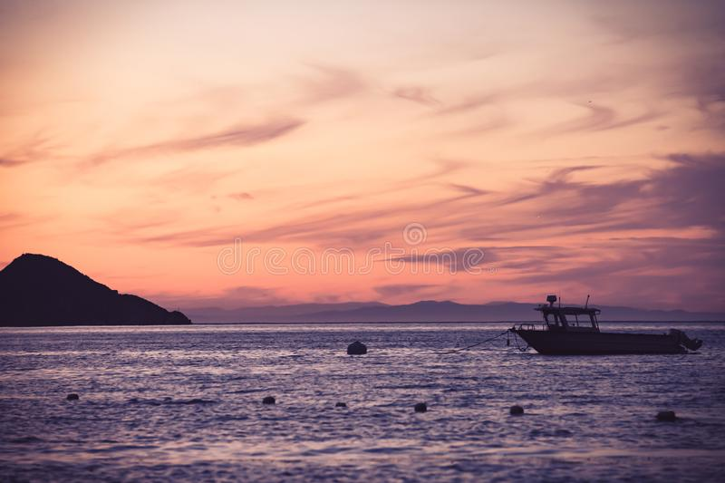 Boat on Sea during Golden Hour stock photos