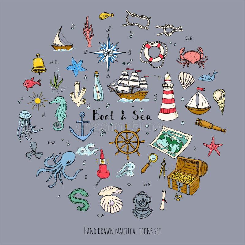 Boat&Sea. Hand drawn doodle Boat and Sea set. Vector illustration boat icons sea life concept elements. Ship symbols collection. Marine life Nautical design stock illustration