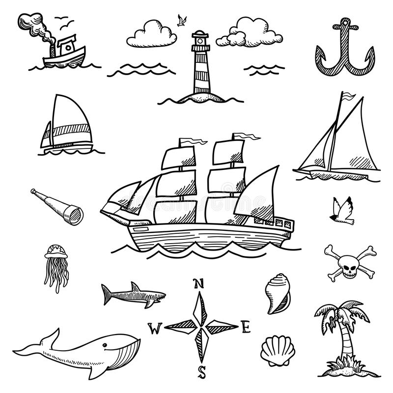 Boat and Sea Hand-drawn Doodles. A set of hand-drawn doodles of sailboats, ocean life, and other sea related objects royalty free illustration