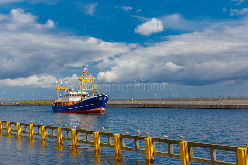 Boat in the sea port, Gdynia, Baltic, Poland stock images