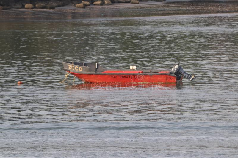 Red Boat in the sea royalty free stock image