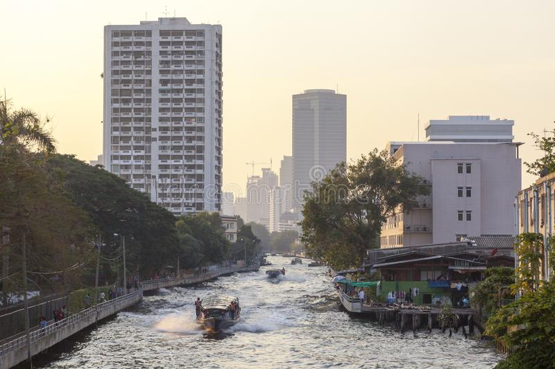 Boat service at Khlong channel in Bangkok royalty free stock image