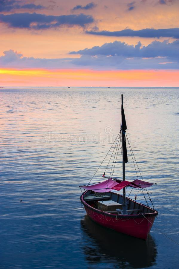Boat before setting sail stock images