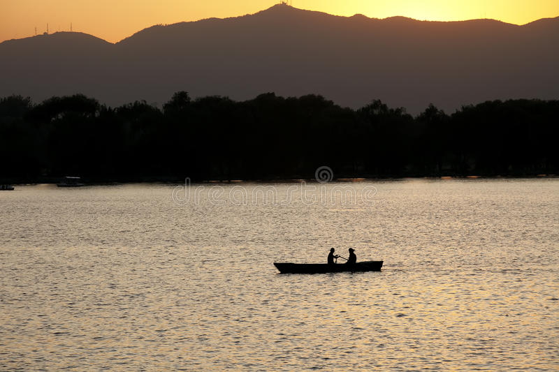Download Boat in the setting sun stock photo. Image of china, beautiful - 11276050