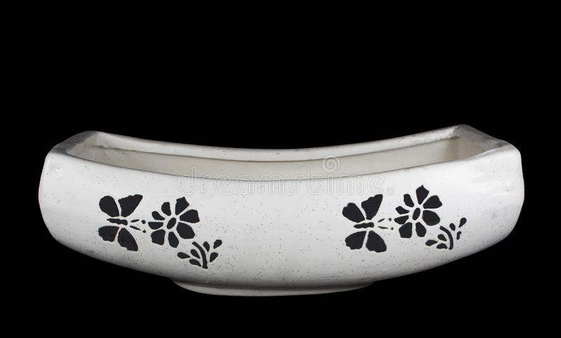 Boat Shape Ceramic Pot for Plant with butterfly and flower pattern royalty free stock photos