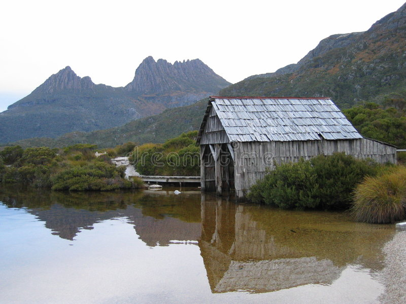 Boat shed at Dove Lake royalty free stock photography