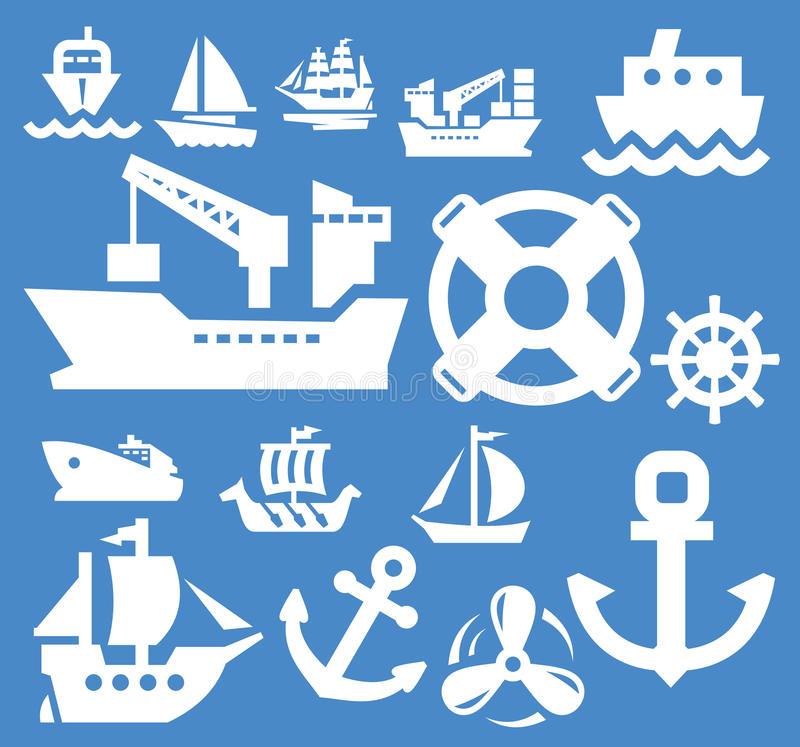 Boat and ship. Icons set on blue royalty free illustration