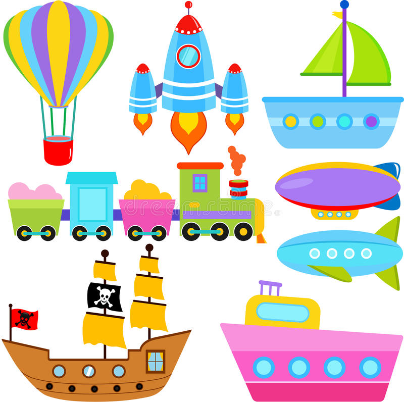 Boat / Ship / Aircraft Vehicles / Transportation stock illustration