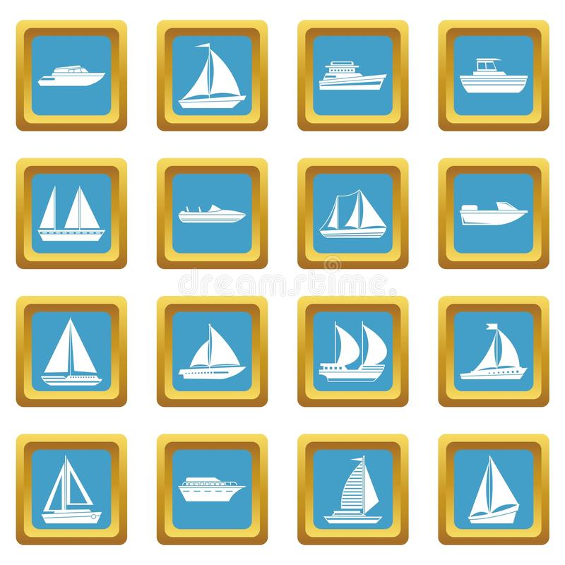 Boat and ship icons azure. Boat and ship icons set in azur color vector illustration for web and any design vector illustration