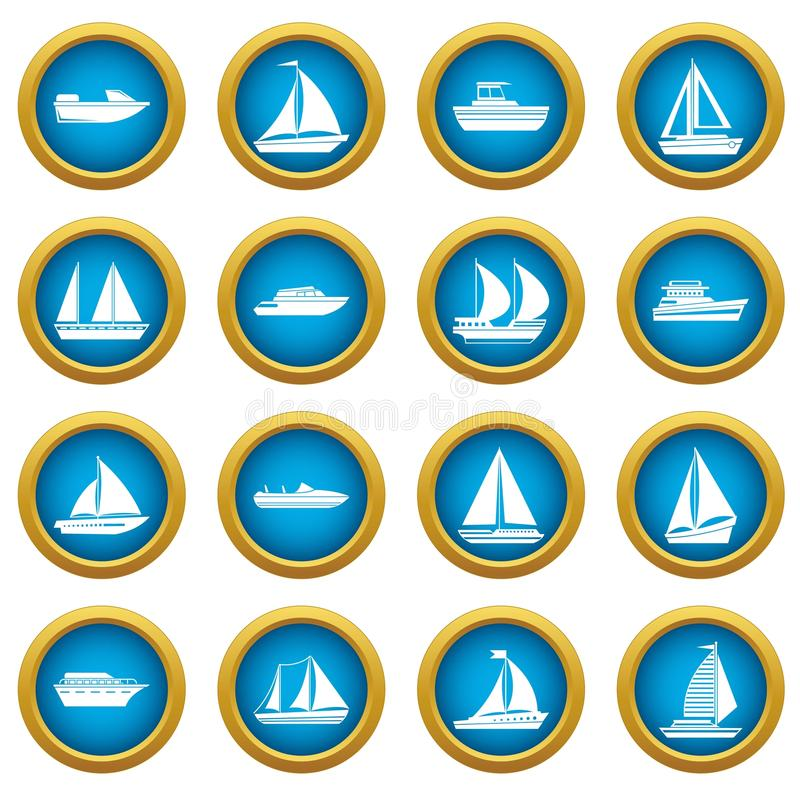 Boat and ship icons blue circle set. Isolated on white for digital marketing vector illustration