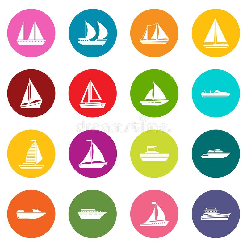 Boat and ship icons many colors set. Isolated on white for digital marketing royalty free illustration
