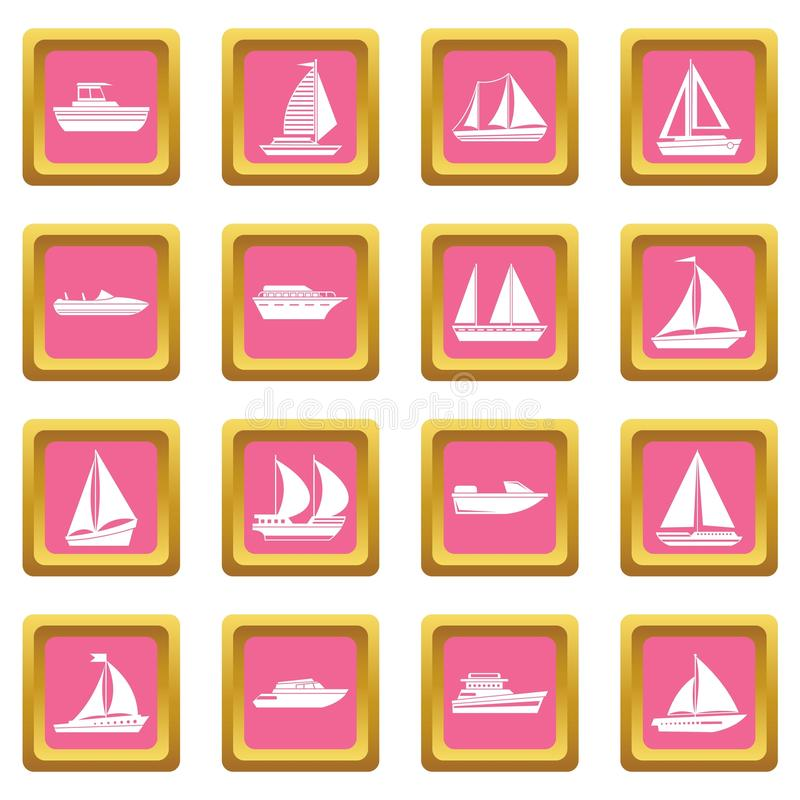 Boat and ship icons pink. Boat and ship icons set in pink color isolated vector illustration for web and any design vector illustration