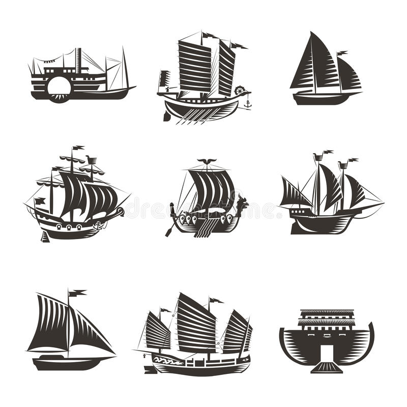 Boat and ship icons set royalty free illustration