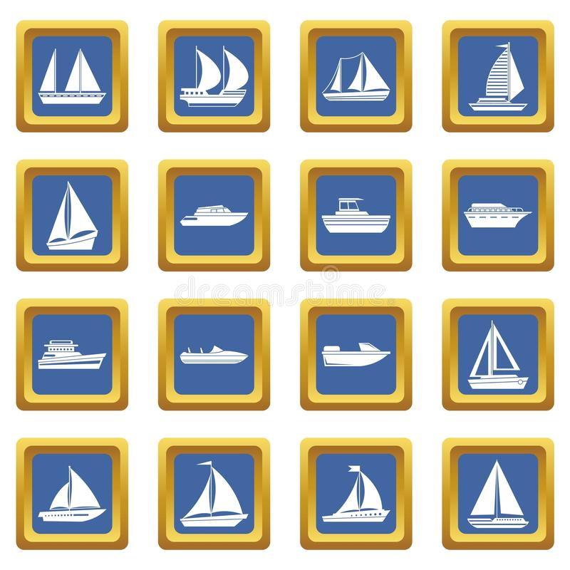 Boat and ship icons set blue. Boat and ship icons set in blue color isolated vector illustration for web and any design stock illustration