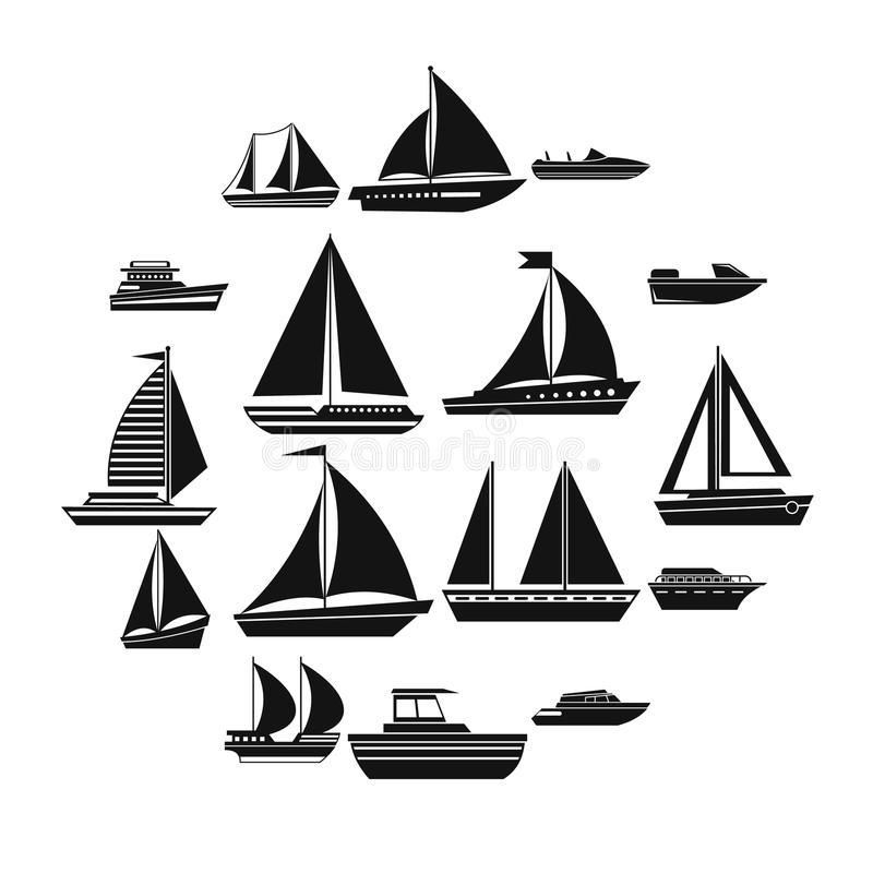 Boat and ship icons set. In simple style for any design royalty free illustration