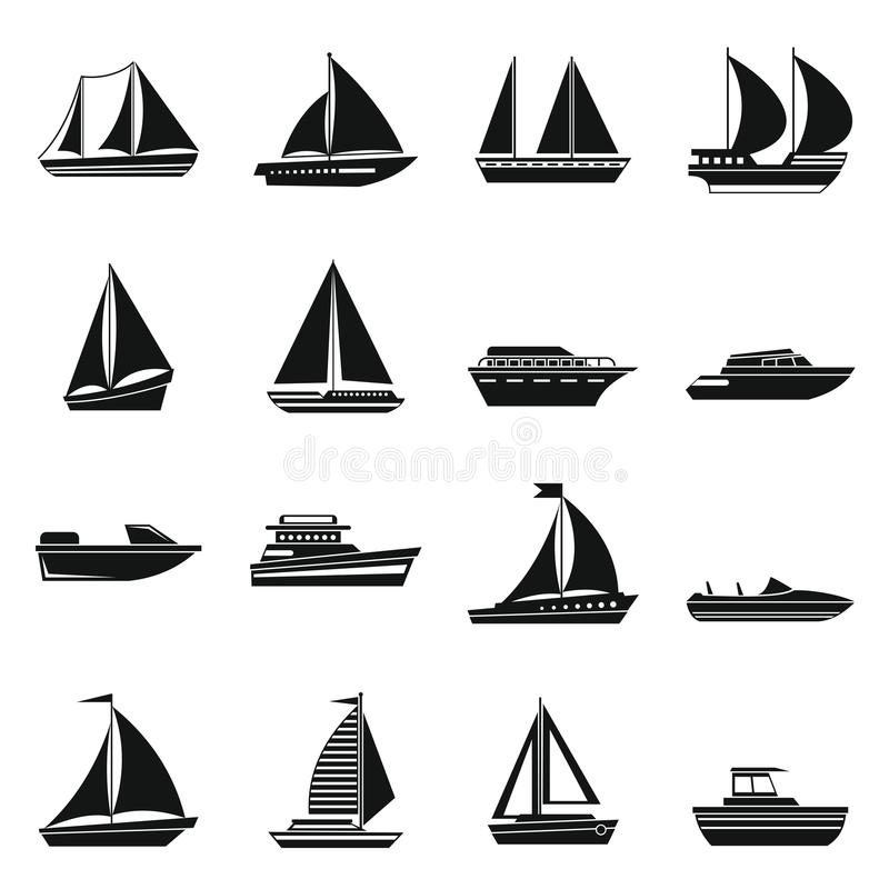 Boat and ship icons set. In simple style for any design vector illustration