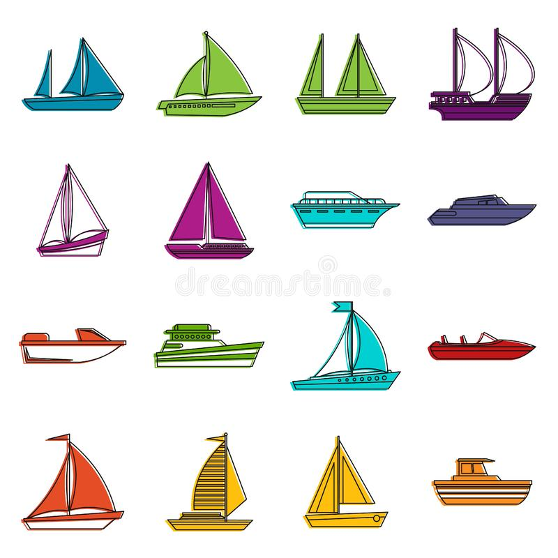 Boat and ship icons doodle set. Boat and ship icons set. Doodle illustration of vector icons isolated on white background for any web design stock illustration