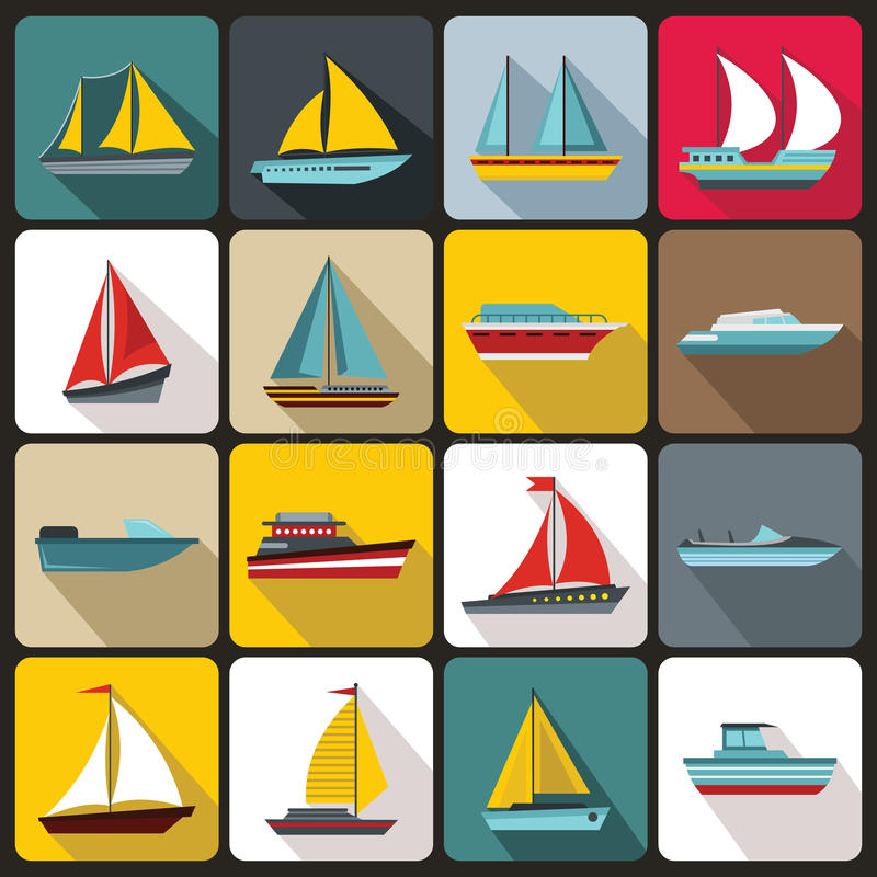 Boat and ship icons set. In flat style for any design stock illustration