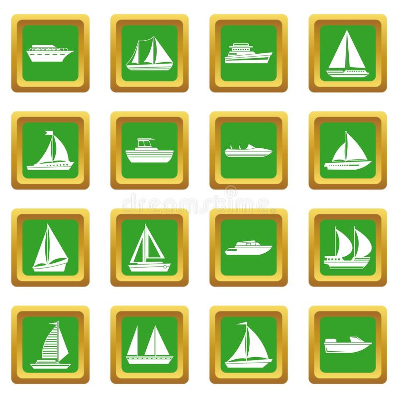 Boat and ship icons set green. Boat and ship icons set in green color isolated vector illustration for web and any design royalty free illustration