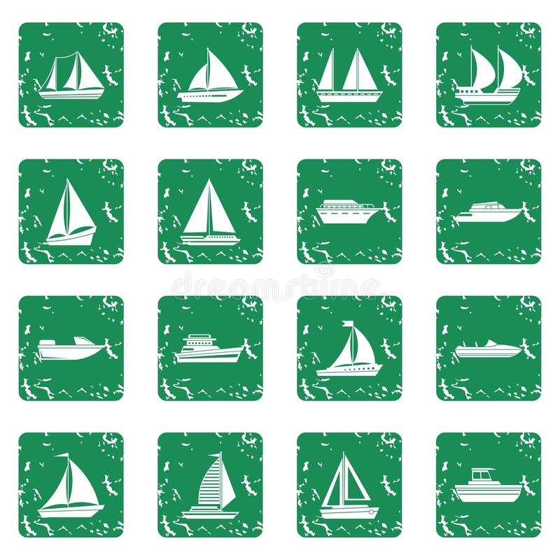 Boat and ship icons set grunge. Boat and ship icons set in grunge style green isolated vector illustration stock illustration