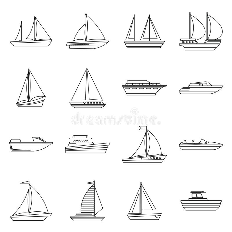 Boat and ship icons set. In outline style for any design stock illustration