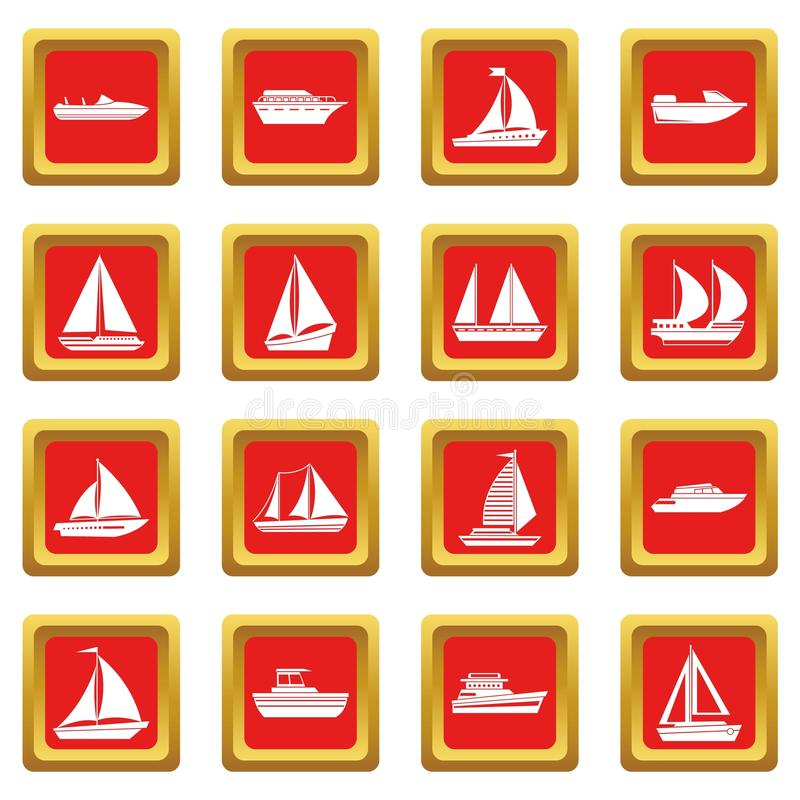 Boat and ship icons set red. Boat and ship icons set in red color isolated vector illustration for web and any design royalty free illustration