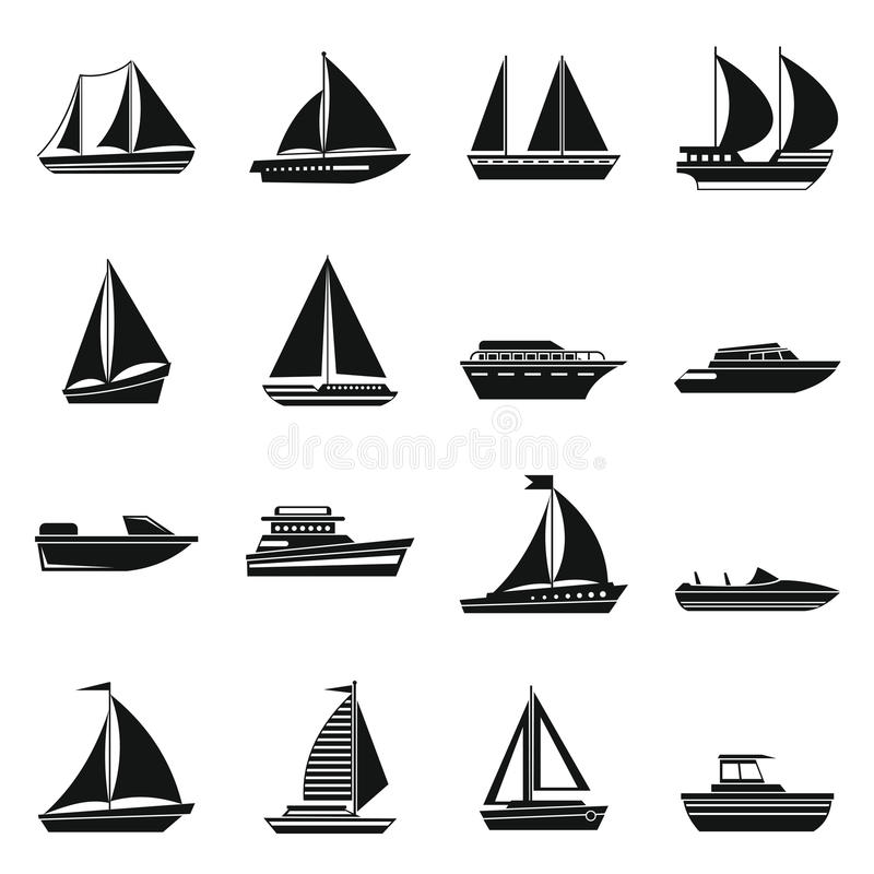 Boat and ship icons set. In simple style for any design stock illustration
