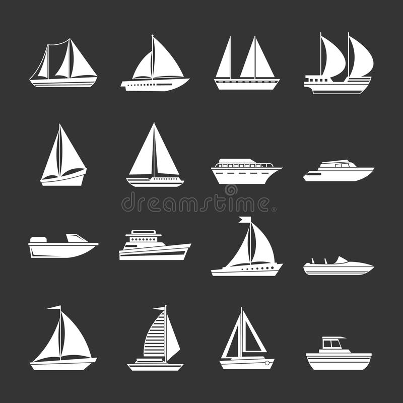 Boat and ship icons set grey vector. Boat and ship icons set vector white isolated on grey background stock illustration