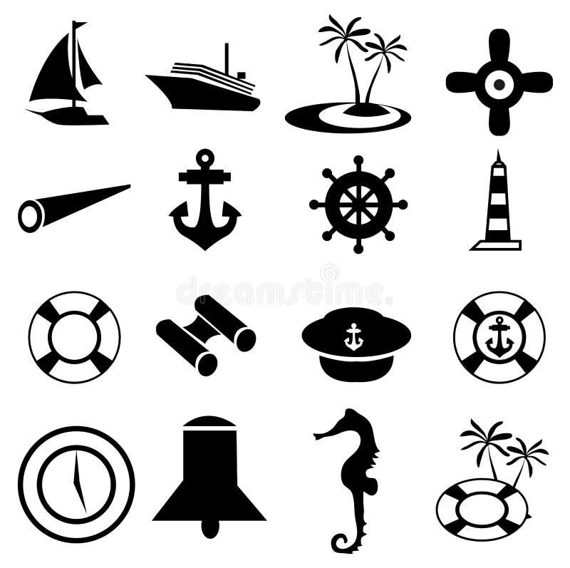 Boat, Ship And Marine Related Icons Set. Vector illustration of boat, ship and marine related black icons set on white background stock illustration